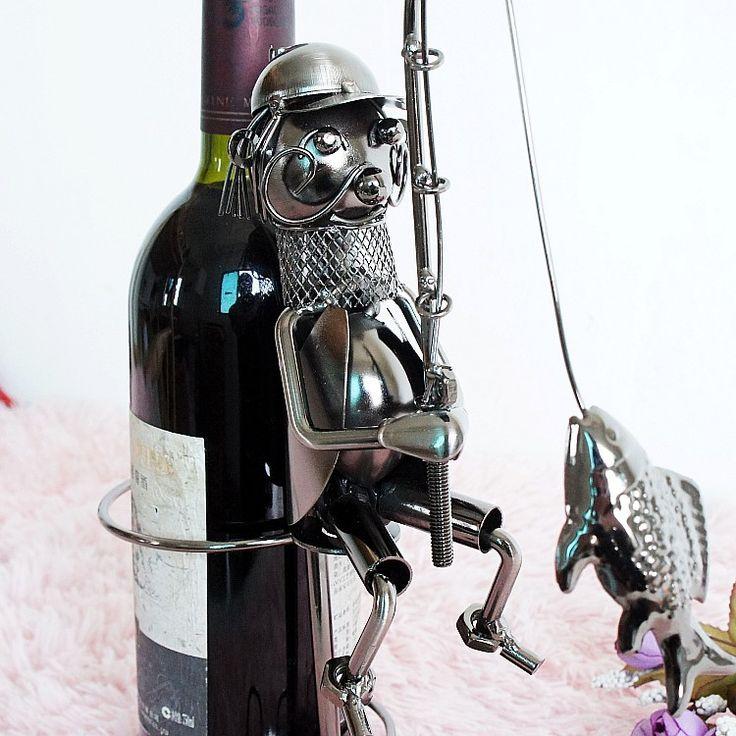 O.RoseLif Bar Handmade Funny Fisherman Whisky Holder  Wine Rack Metal Crafts Gift  Home Furnishing Wine Holder Smile