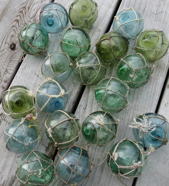 Japanese Fishing Floats 5 Netted Glass Hanging Authentic Pool Tiki Decor