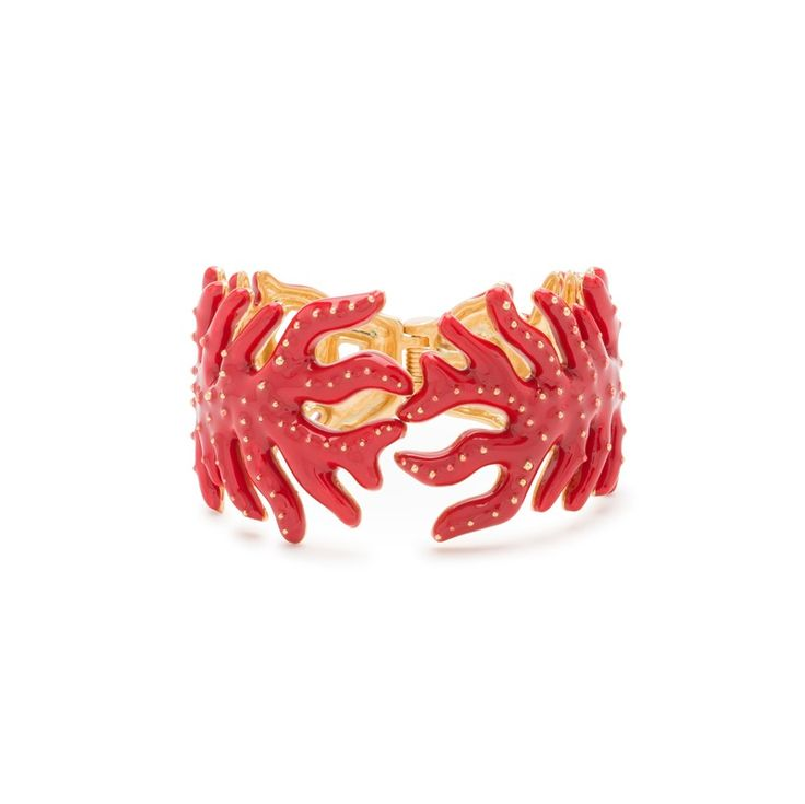 JEWELLERY Rigid metallic coral bracelet RED