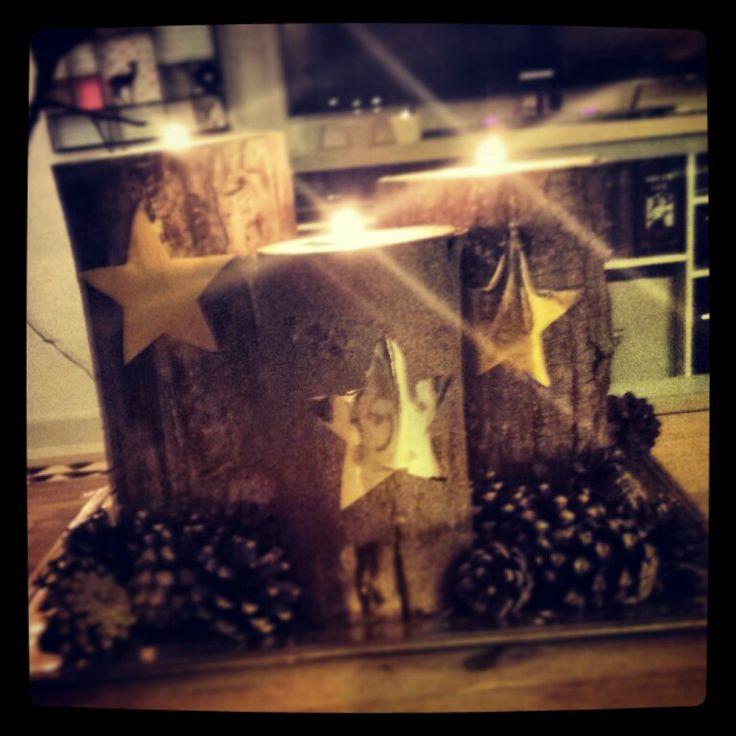 Lysestager min mand og jeg har lavet af træstammer