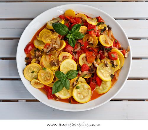 Sauteed Zucchini with Tomatoes, Mushrooms, Peppers, and Basil (The Kids Cook Monday): Sauteed Zucchini, Healthy Foodrecip, Veggies Medley, Basil Veggies, Belle Peppers, Foodrecip Savory, Tomatoes Basil, Food Recipe, Mushrooms