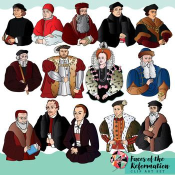 This set includes famous faces and events of the Reformation! Depicted in this set are: Johann Gutenberg Gutenberg Printing Press Huldrych Zwingli Thomas Cranmer Henry VIII Menno Simons Philipp Melanchthon John Calvin John Knox Pope Leo X William Tyndale Thomas Cromwell Edward VI Elizabeth I Martin Luther