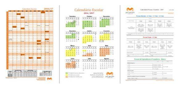 Calendário Escolar 2016/17 + Calendário Provas Aferição / Provas Finais / Exames 2017
