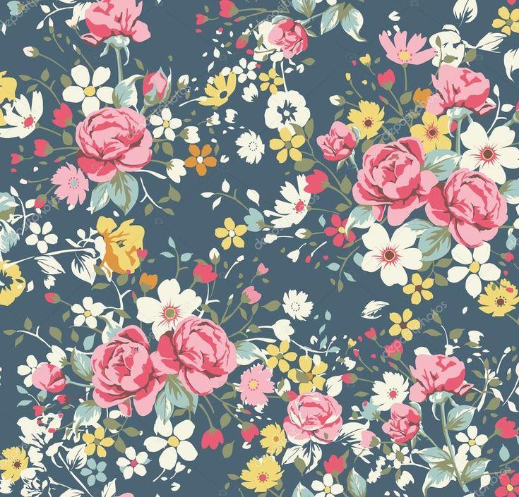 Patrón Rosa vintage papel pintado sobre fondo azul marino