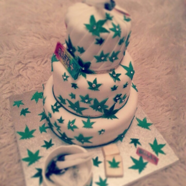 Weed, pot, cannabis cake with ashtray, roll ups, lighter n rizla...all edible