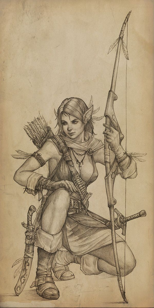 archer by slipgatecentral female elf ranger bow arrow dagger sword armor clothes clothing fashion player character npc | Create your own roleplaying game material w/ RPG Bard: www.rpgbard.com | Writing inspiration for Dungeons and Dragons DND D&D Pathfinder PFRPG Warhammer 40k Star Wars Shadowrun Call of Cthulhu Lord of the Rings LoTR + d20 fantasy science fiction scifi horror design | Not Trusty Sword art: click artwork for source