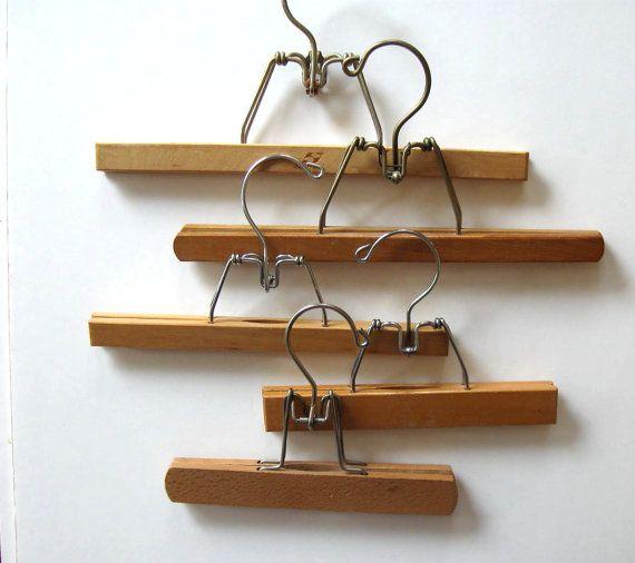 5 Vintage wooden Pants or skirt Hangers Mid by jewelryandthings2