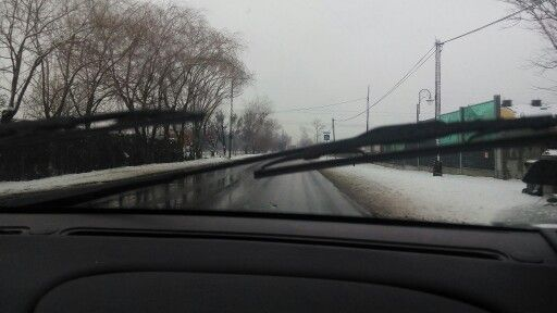On the way to Opole... No rain but snow
