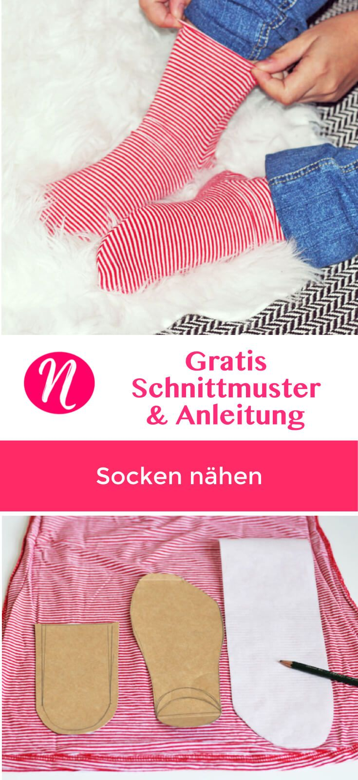 Tutorial - Nähe deine eigenen Socken mit einer einfachen Anleitung - für Damen, Herren und Kinder ✂ Nähtalente - Magazin für kostenlose Schnittmuster ✂ Sew you own socks with this easy tutorial for Jersey.