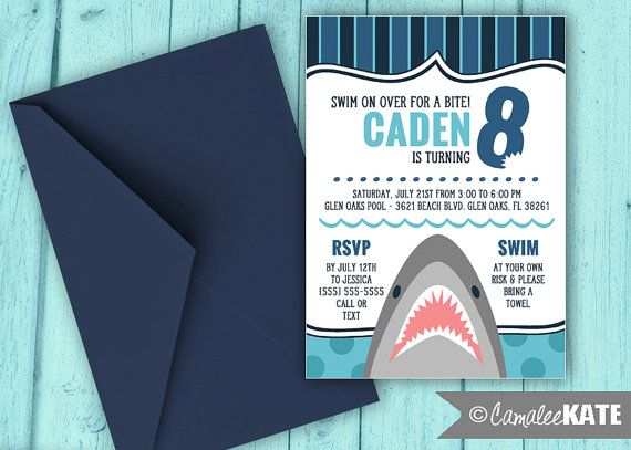Shark Pool Party invitation - printable birthday party invitations - boy party ideas - summer birthday -  swimming party - navy blue and aqua - nautical - sharks teeth - boys party themes - decorations - diy - printed - etsy.com