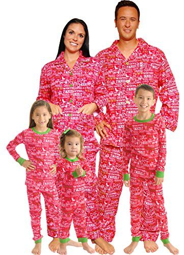 Our brushed flannel family pajamas are a fun, festive way to ring in the holidays. Kids' pajamas and girls' nightgowns are made from flame-resistant cotton. Men's and Teen PJs and Women's shorts set have a coordinating solid thermal top.