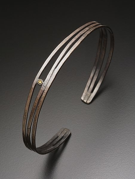 Hammered Cuff with Yellow Diamond by Randi Chervitz: Silver & Stone Bracelet available at www.artfulhome.com