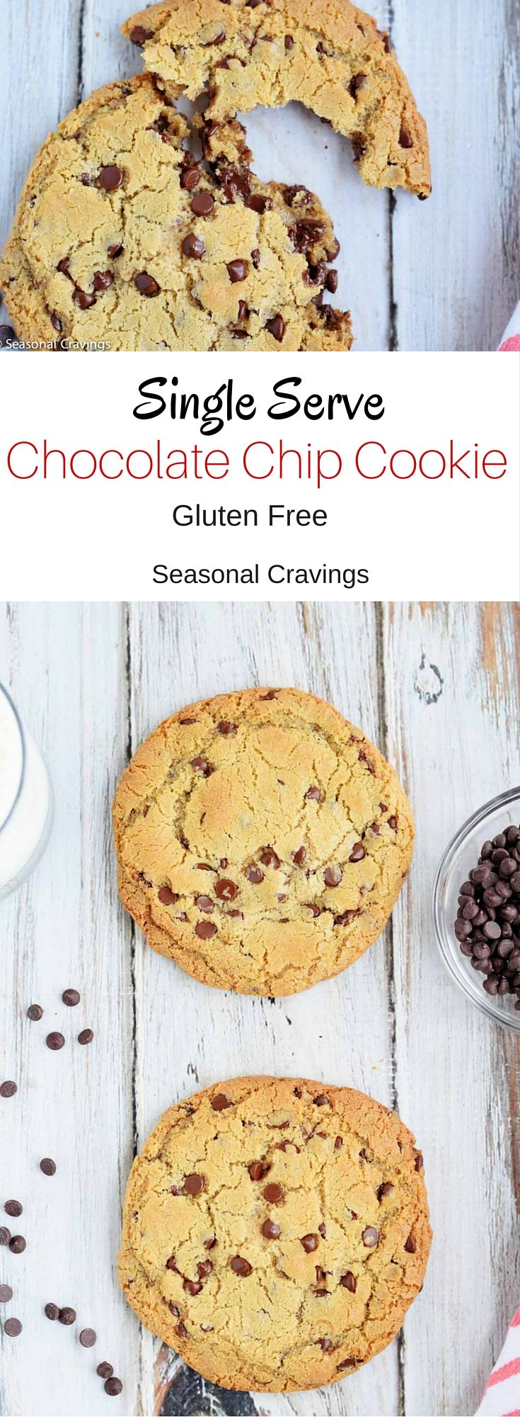 Single Serve Chocolate Chip Cookie - This gluten free chocolate chip cookie is the best cookie ever.  And you don't have to worry about overeating.  It's a win, win!