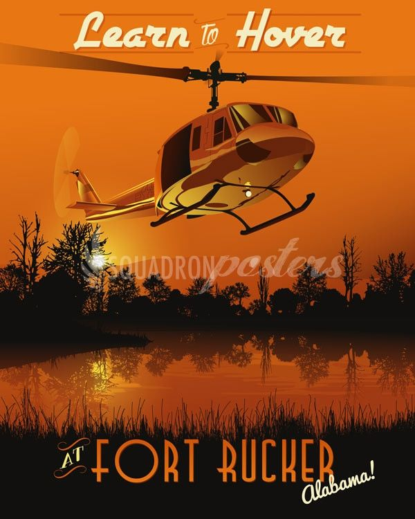 Fort Rucker Helicopter Training vintage art deco poster UH-1 Huey