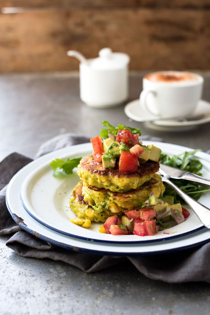 Corn Fritters with Avocado Salsa - simple the best corn fritters ever! The secret is blending some of the corn into the batter which truly makes these fritters taste like corn, rather than just bursts of it when you bite into a kernel. An elegant brunch or starter, easy to make (of course!)