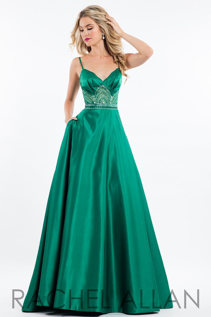 A Line Sweetheart Cut Out Back Emerald Green Satin Beaded Prom ...