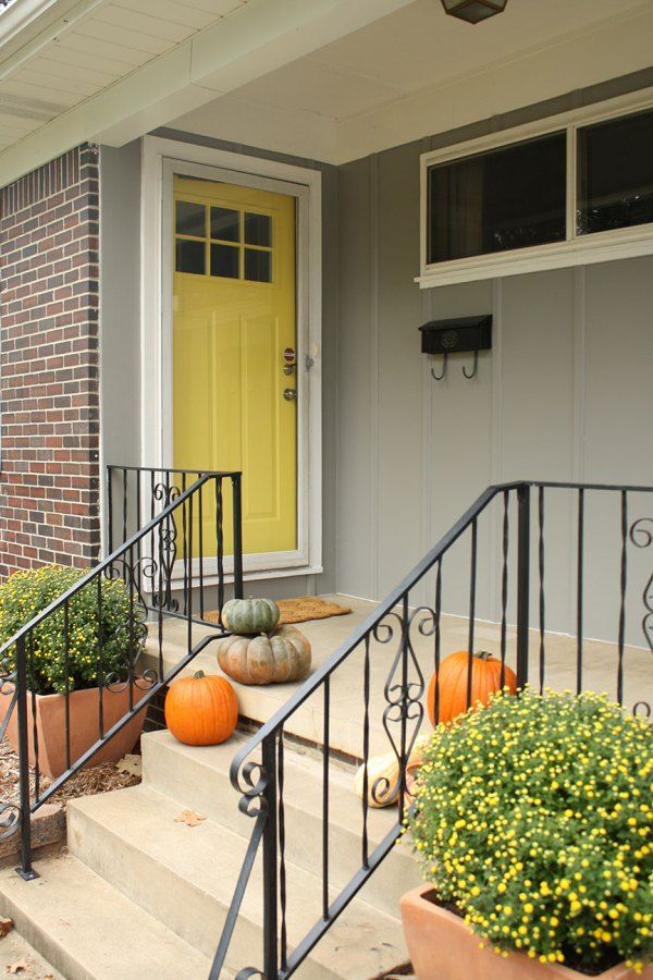 Gray House Yellow Door For The Home Pinterest
