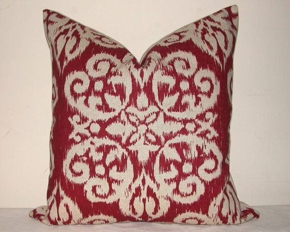 pillow cover decorative pillow throw pillow sofa pillow toss pillow red ikat 18x18 20x20 or 22x22 inch home furnishing home decor