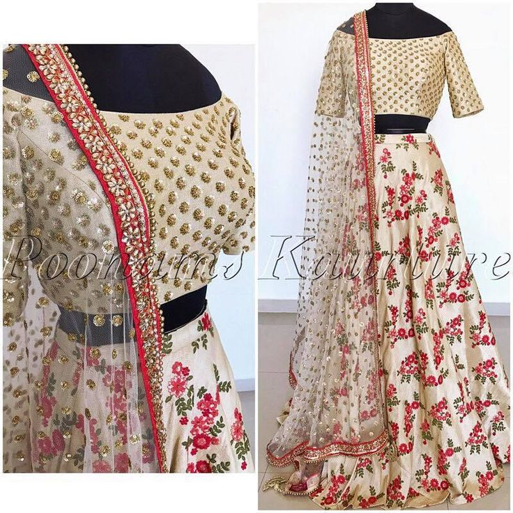 Here s is a full picture of this beautiful off shoulder threaded raw silk floral lehnga  hand embroidered blouse  and  signature sequins net duppatta. This piece only comes in this colour  but we can customize the blouse and can be made in any size. For any inquiries please email us at pkaurture@hotmail.com. 14 February 2017