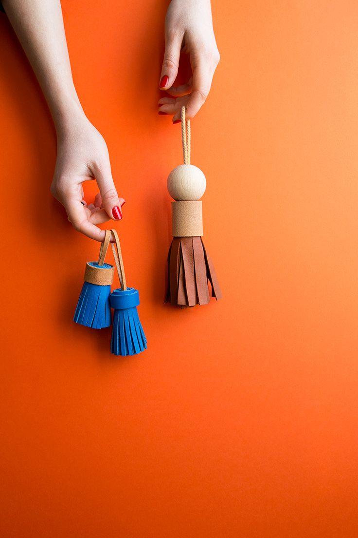 Leather-pompon tassel -diy-