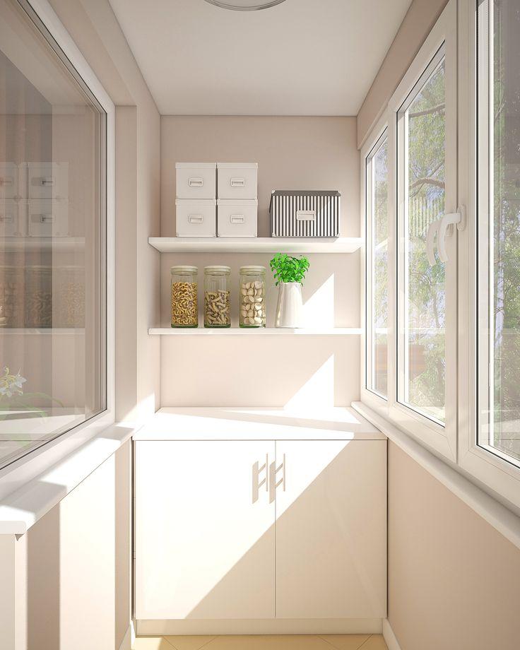 На балконе нет штор или портьер, чтобы естественный свет безпрепятнственно проходил в кухню.