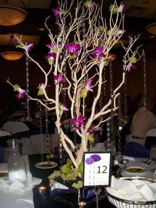 Cheap Purple Decorations For Living Room: Tree Centerpieces For Weddings Diy