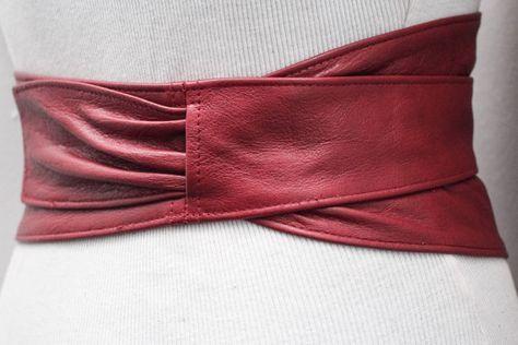 Red Leather Wide Obi Belt Red Corset Belt Leather obi belt
