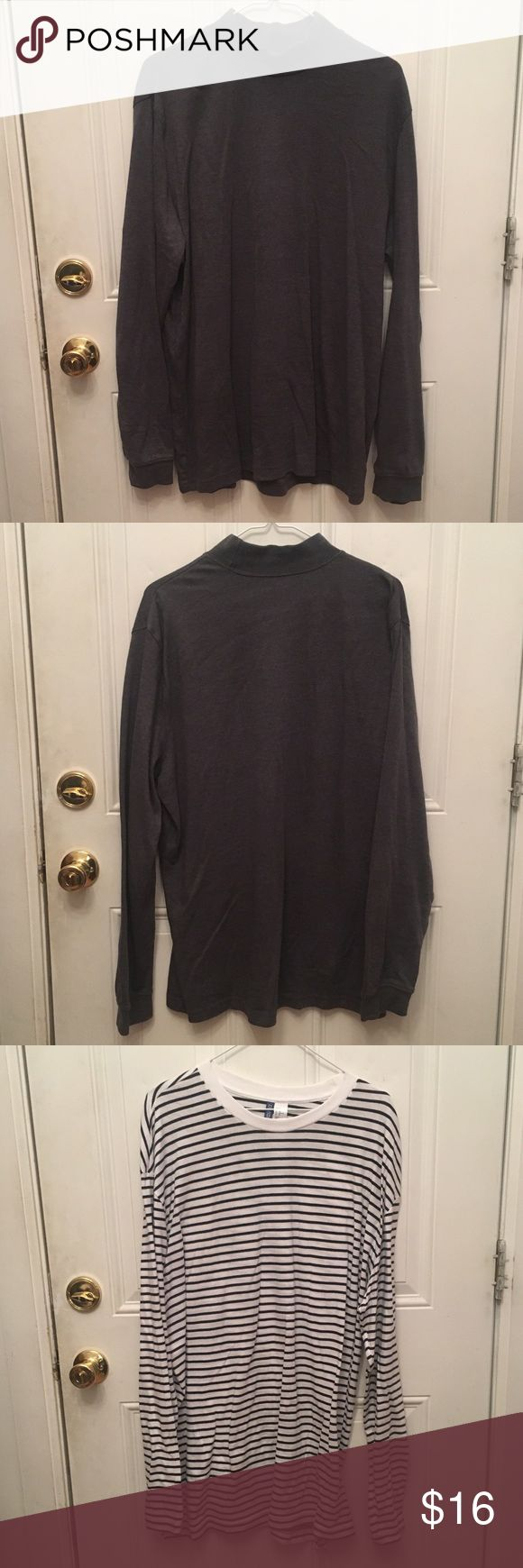 2 for 1 men's turtleneck and long sleeve tee Men's turtleneck and long sleeve striped shirt 2 for price of 1. Both worn once for a photoshoot other than that no visible markings or stains. Both are a size XL. H&M Shirts Tees - Long Sleeve