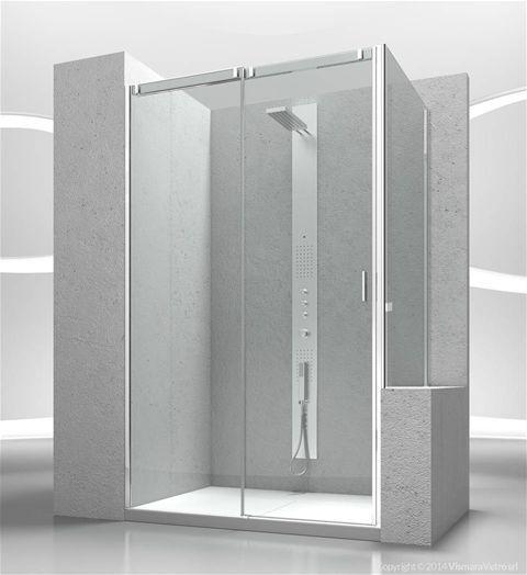 collezione Slide #vismaravetro modello VN+VP Cabina doccia con apertura scorrevole con parete fissa per piatti doccia posizionati a fianco di vasca da bagno o muretto