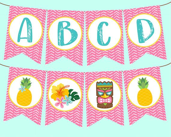 Full Alphabet Pink Luau Banner for Luau Birthday Party Baby Shower, or Bridal Shower