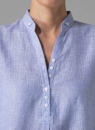 Linen Three-quarter Sleeves Shirt - Blue Stripe