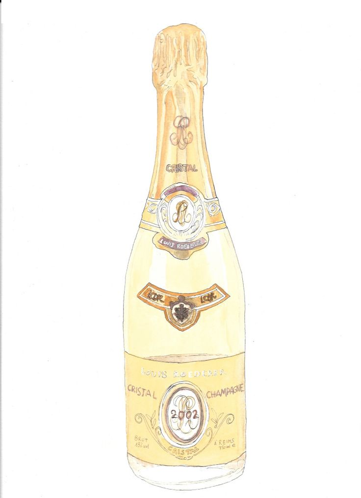 Cristal champagne bottle hand drawn watercolor illustration by RobertaTomei on Etsy