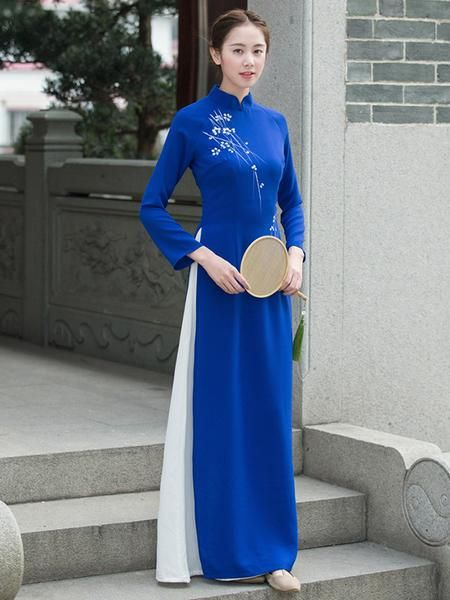 Tradition Blue Long Cheongsam Ao Dai – uoozee