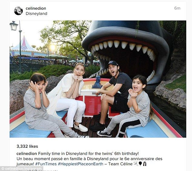 Family time: Celine Dion shared this photo to Instagram on Thursday showing herself and her three sons having fun at Disneyland as twins Nelson and Eddy celebrated their sixth birthday