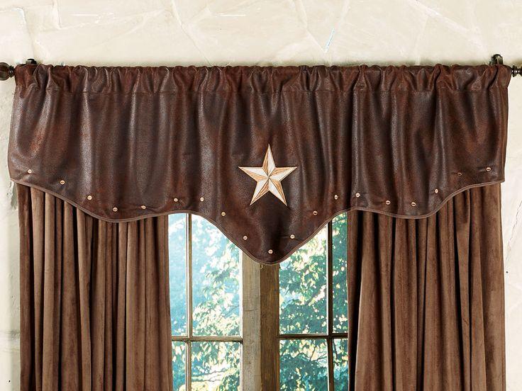 western valances with star   Starlight Trails Chocolate Star Valance