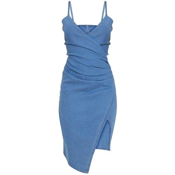 Amalia Blue Strappy Cami Denim Dress ($37) ❤ liked on Polyvore featuring dresses, strappy cami, blue cami, strap dress, camisole dress and strappy dress