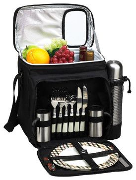 Fully equipped picnic & coffee cooler for two. Unique, divided Thermal Shield insulated cooler with separate sections for wine and food. Eas...