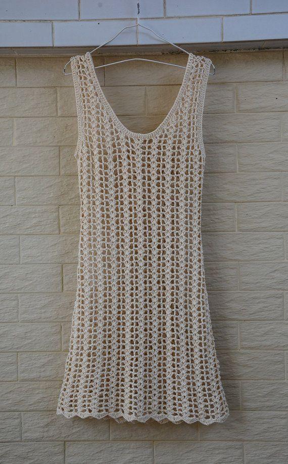 Boho Crochet Dress Summer Beach Cover Up Dress by TinaCrochet2016