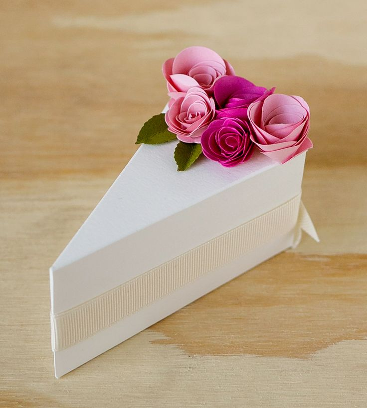 Cream Paper Cake Slice Favor Boxes | In addition to sending each of your guests home with a slice o... | Wedding Ceremony Supplies