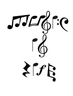 "The things you can spell with notes; be creative! ""Music is Life"""