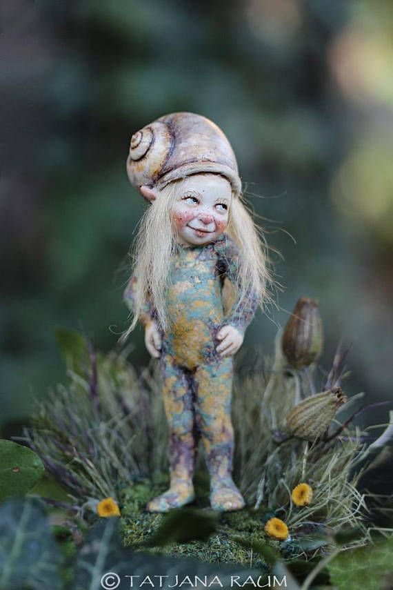 Miniature pixie girl with snail hat 1:12 dollhouse size by