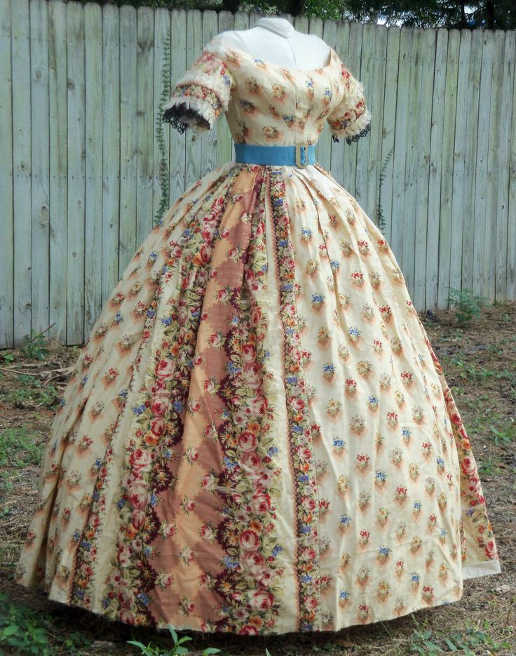 Floral challis ballgown with belt c.1858