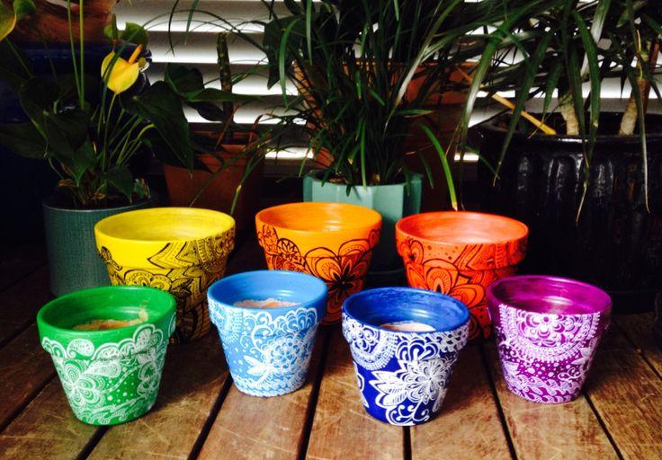 Hand painted #rainbow #pots xx