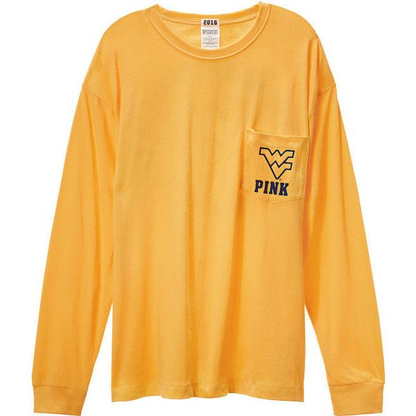 Victoria's Secret West Virginia University Long Sleeve Campus Tee ($40) ❤ liked on Polyvore featuring tops, t-shirts, white, white t shirt, white cotton tops, victoria's secret, longsleeve t shirts and white long sleeve t shirt