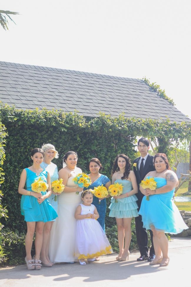 Turquoise Teal Yellow Wedding Bright Colors With Zombie Video Game