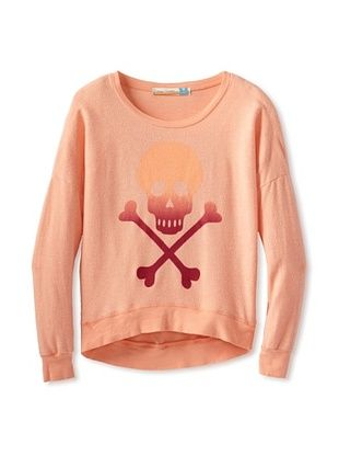 70% OFF Vintage Havana Girl's Ombre Skull & Bones Sweatshirt (Orange)