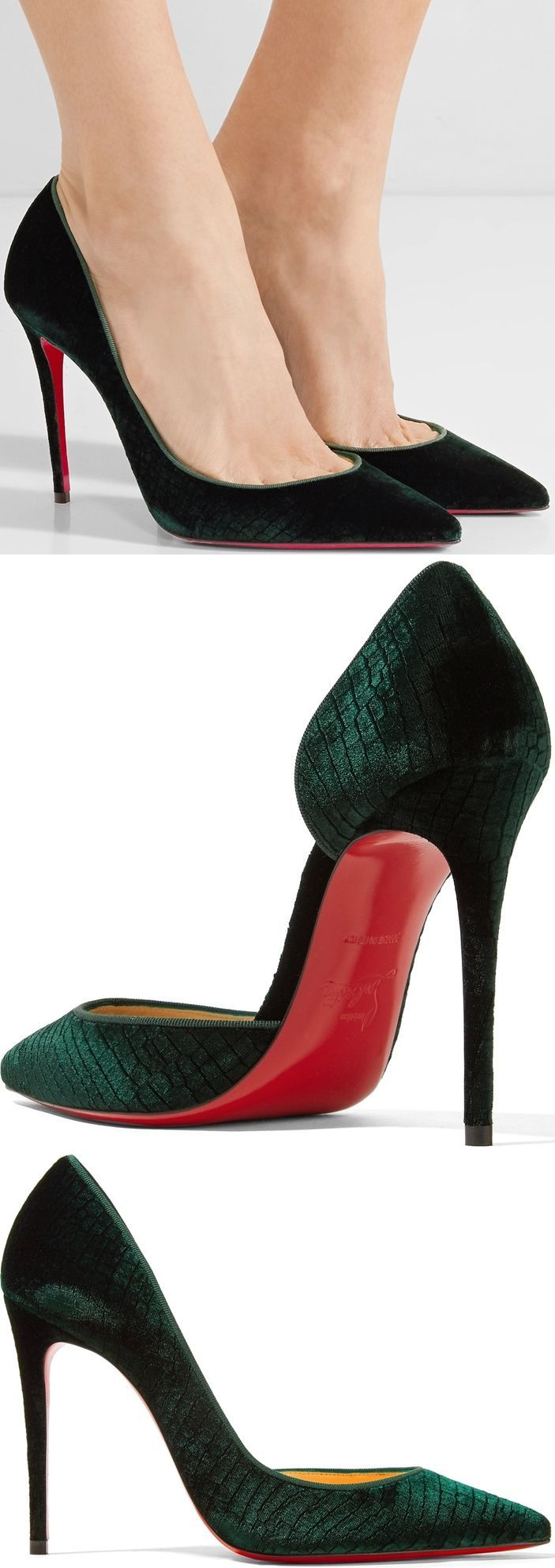 Christian Louboutin's 'Iriza' pumps are made from plush croc-effect velvet in a rich emerald hue. Set on a slim stiletto heel, they're designed in a flattering half d'Orsay silhouette with low-cut vamps that create the illusion of longer legs.