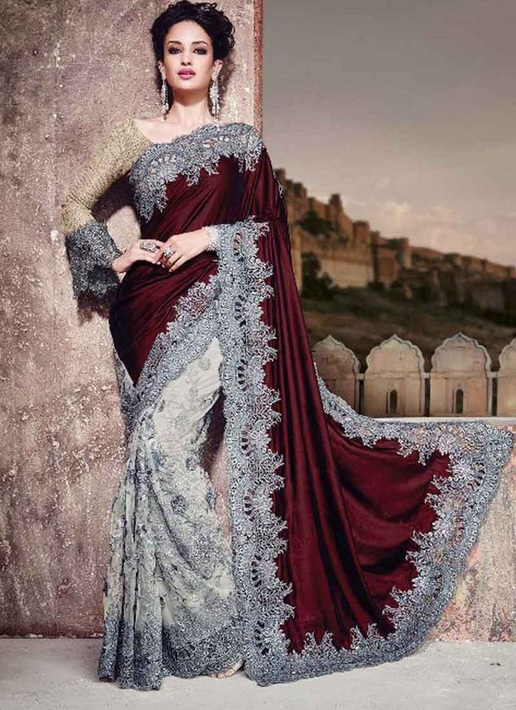 Maroon And White Velvet Embroidery Work Half N Half Saree. Pair With Matching Blouse. http://www.angelnx.com/Sarees/Wedding-Sarees/maroon-and-white-velvet-embroidery-work-half-n-half-saree_11203