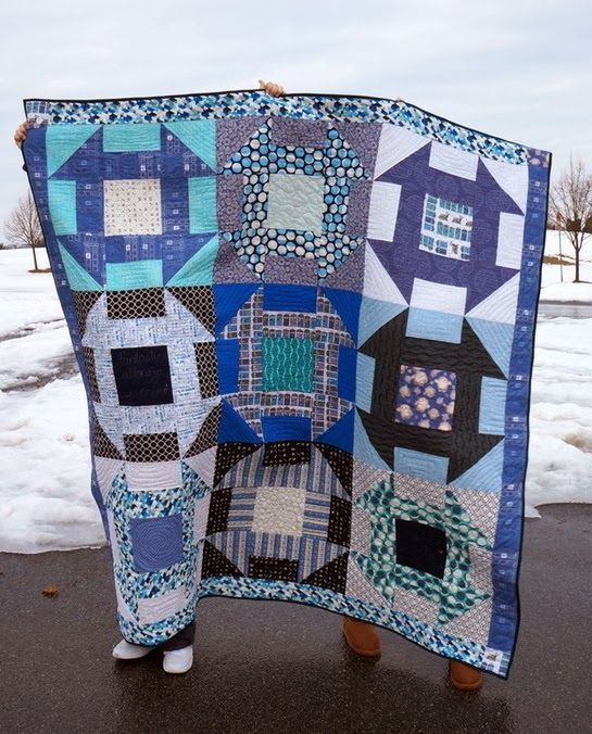 "Quilty Habit: A Surprise Doctor Who Quilt - ""Allons-y, Allonso"".  This is queen size but needn't be.  It would look better as a twin or large lap quilt size."