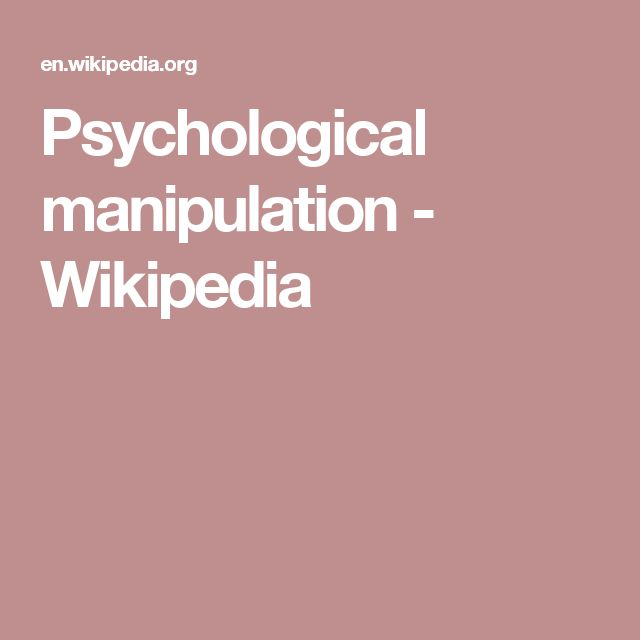 Psychological manipulation - Wikipedia